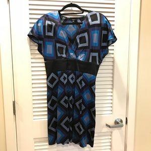 Express Blue & Black Geometric Silk Dress